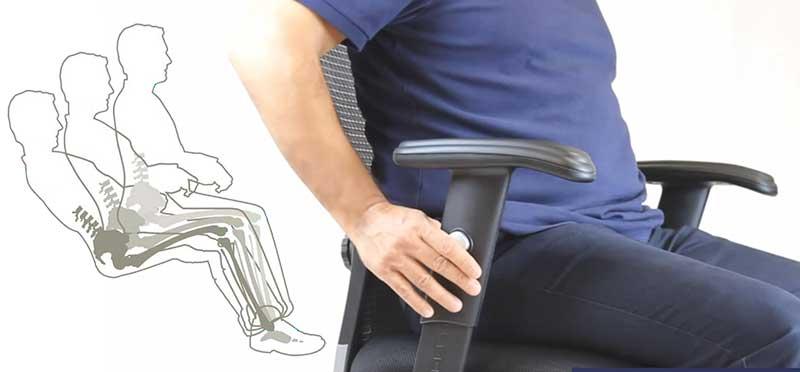 Backrest recline and adjustable armrests