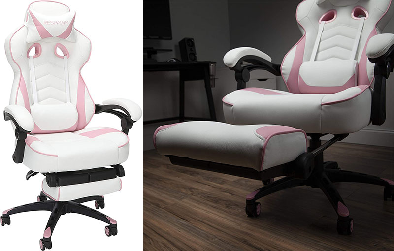 Respawn pink gaming chair with footrest