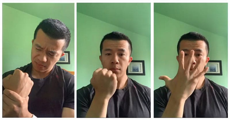 Dr. Joshua Lee demonstrates simple wrist exercises