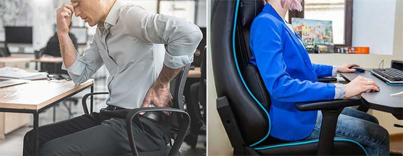 Gaming chair posture support