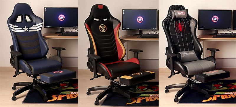 Marvel gaming chairs with footrests