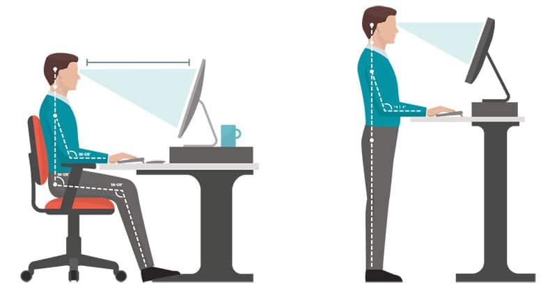 Sitting versus standing desk posture examples
