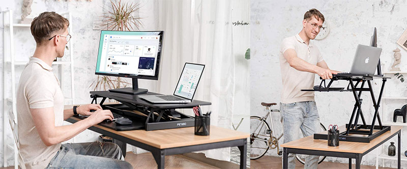 FEZIBO 32 inches Stand Up Black Desk Converter