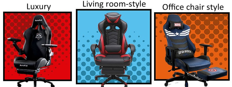 Three types of footrest gaming chairs