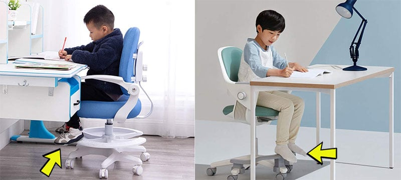 Using a footrest at a desk for kids