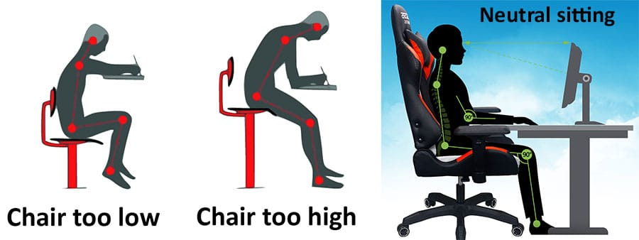 Setting the correct chair height at a desk