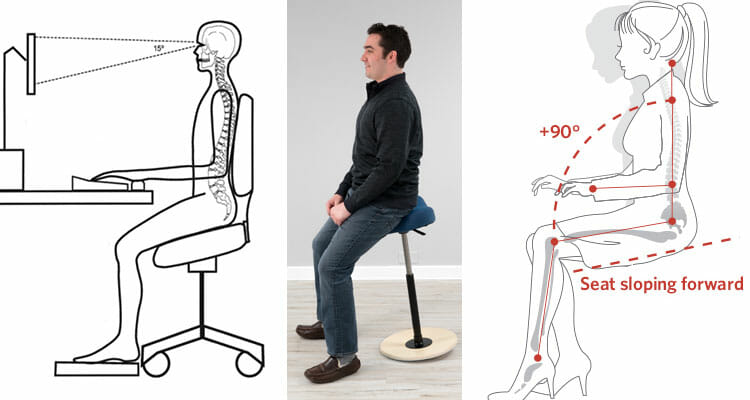 Downward-sloping chair seat functionality