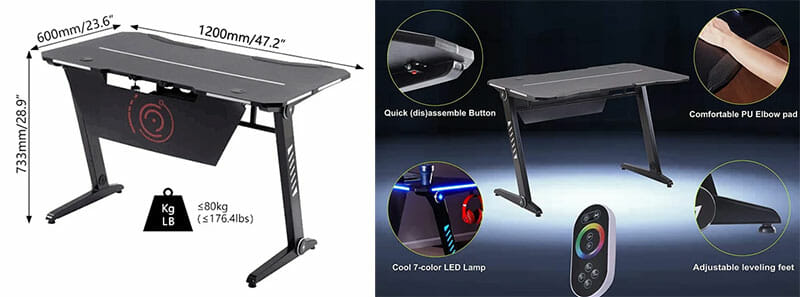 GTRacing Gaming Desk T07-BLACK