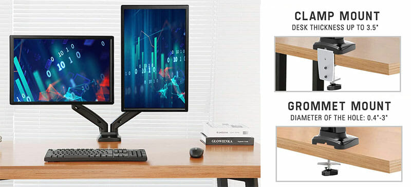 Desk mounted monitor stand