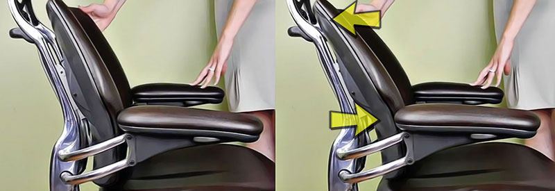 Humanscale pivoting backrest