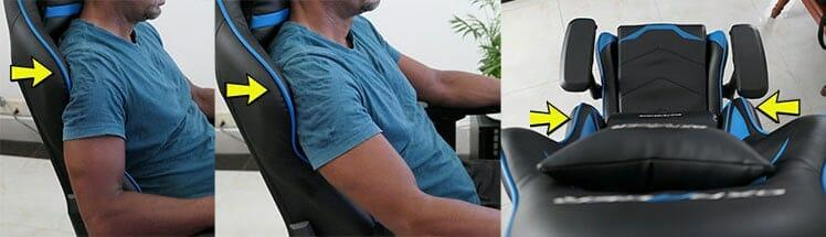 DXRacer backrest tapered wings