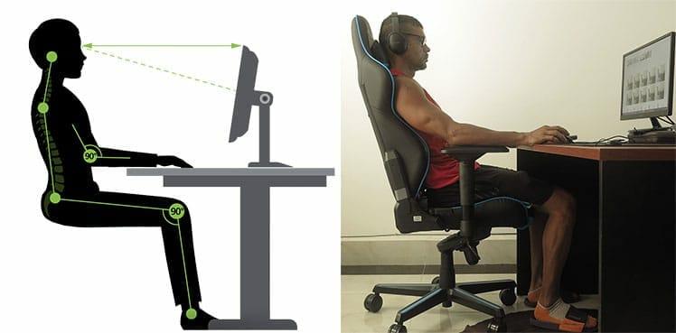 DXRacer chair posture support