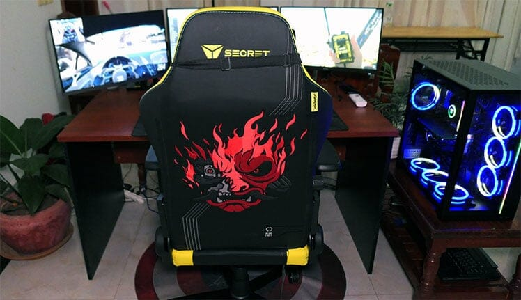 Cyberpunk gaming chair at workstation