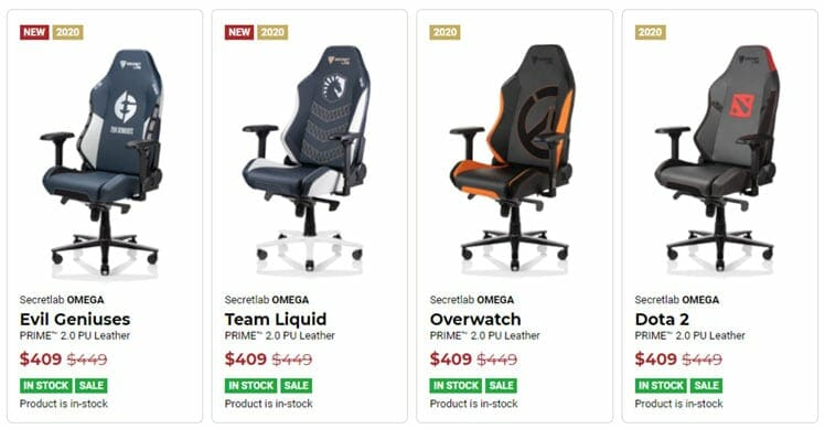Secretlab chairs in stock
