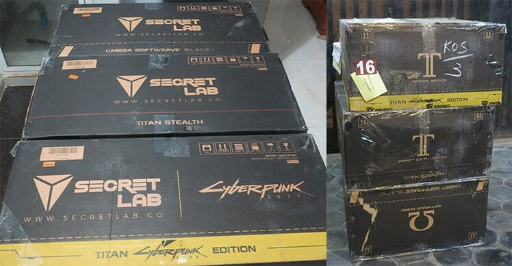 Secretlab gaming chair delivery boxes