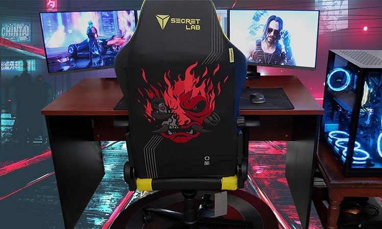 Cyberpunk chair at PC workstation