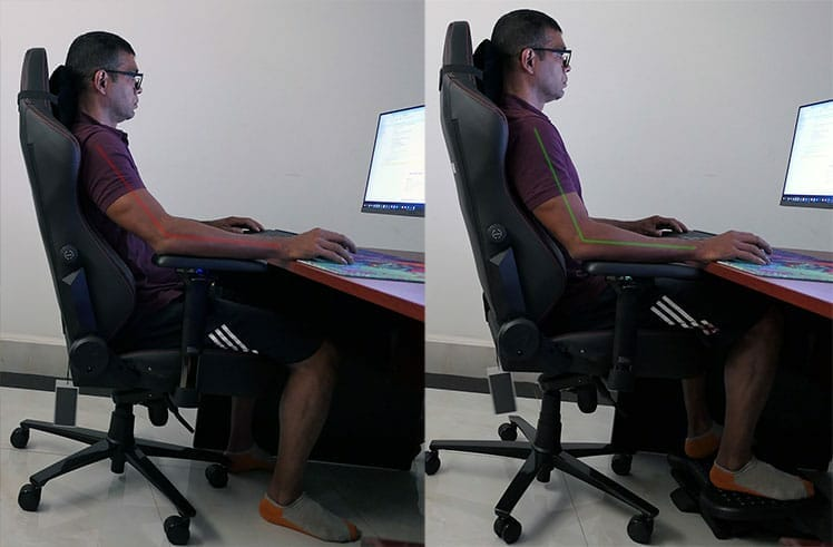Sititngwith and without a footrest comparison