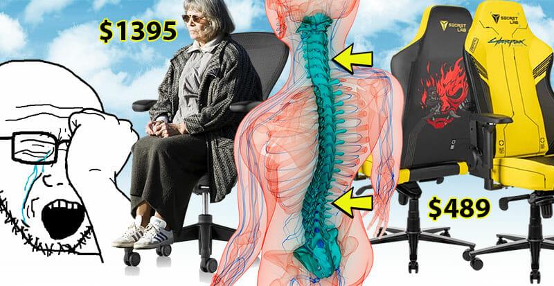 Cyberpunk gaming chair versus Herman Miller Aeron