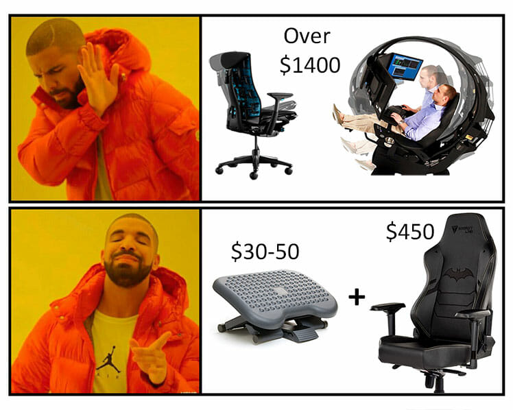 Gaming chair with footrest versus ergonomic chair