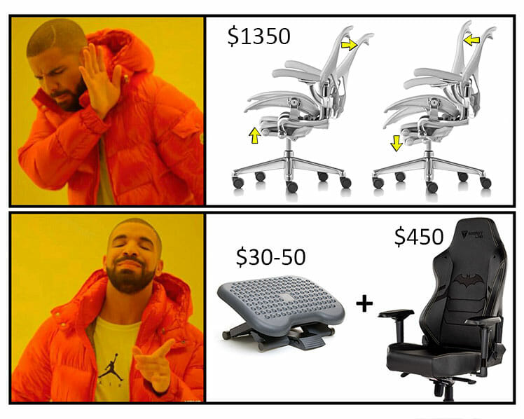 Expensive Herman Miller chair vs gaming chair plus footrest meme