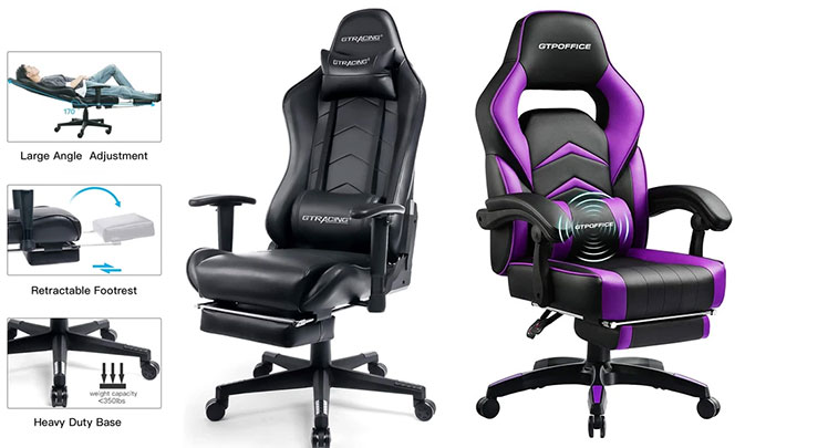 GTRacing footrest series gaming chairs
