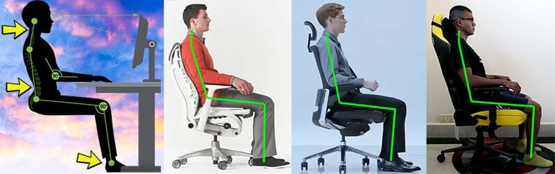 Neutral sitting examples in various ergonomic chairs