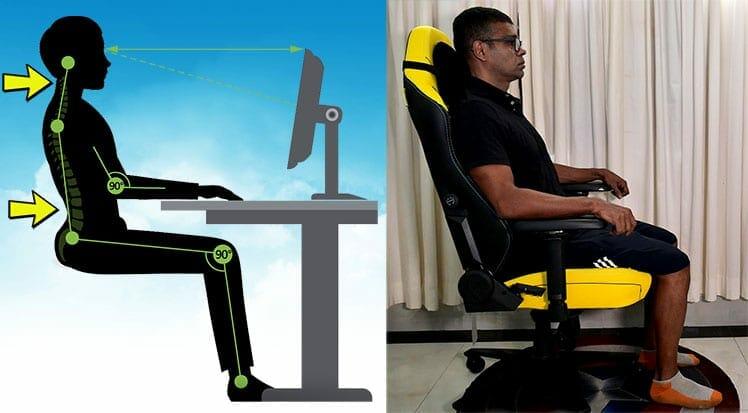 Titan chair neutral sitting posture