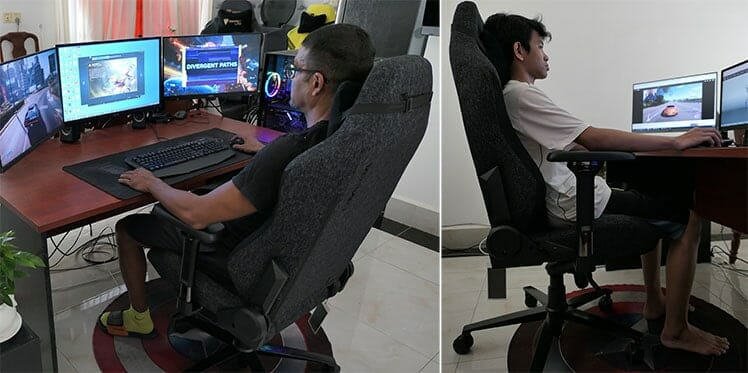 Different sized users sitting in a Secretlab Omega gaming chair