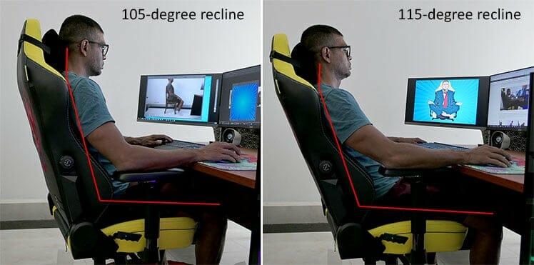 Recline changes in a Secretlab Titan chair