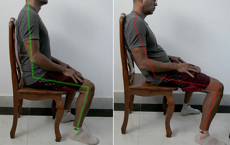 Good and bad posture in a simple wooden dining table chair