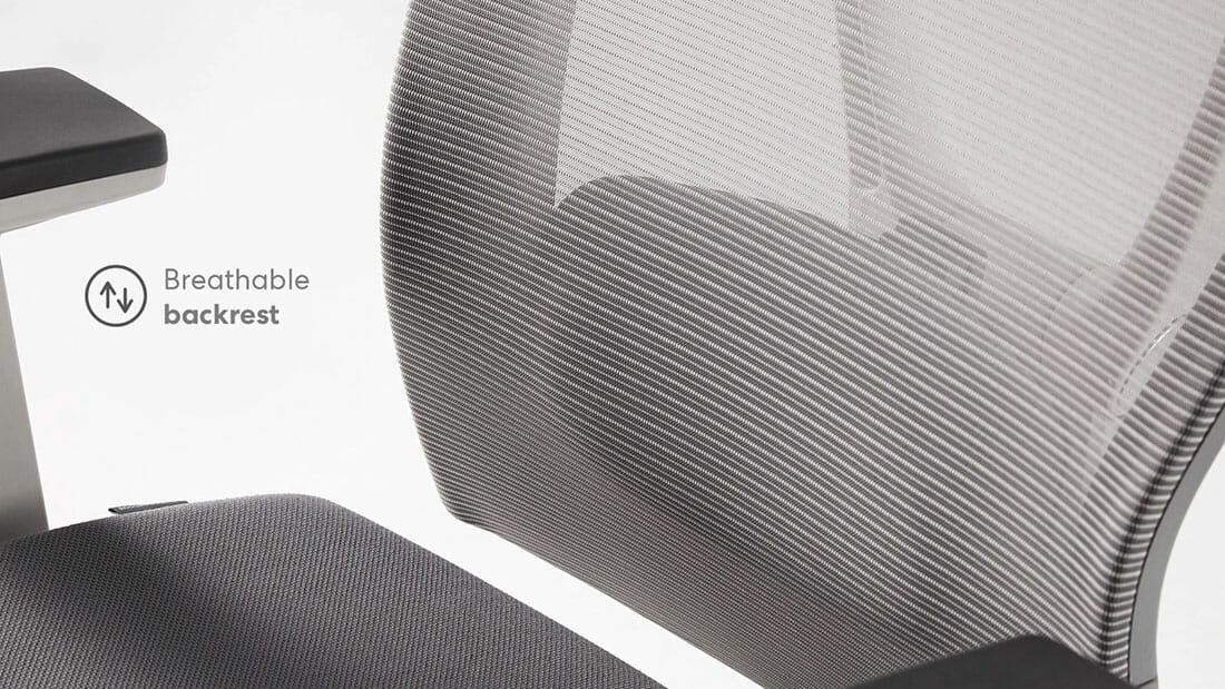 Autonomous chair backrest mesh upholstery