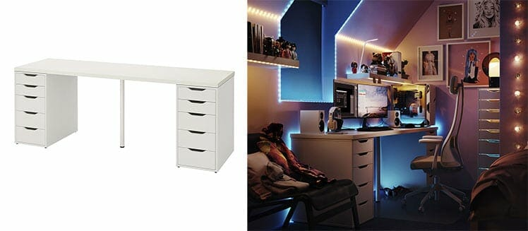IKEA Linnmon tabletop with Alex drawers