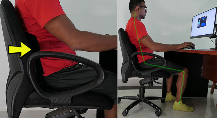 Lumbar support hack for cheap office chair