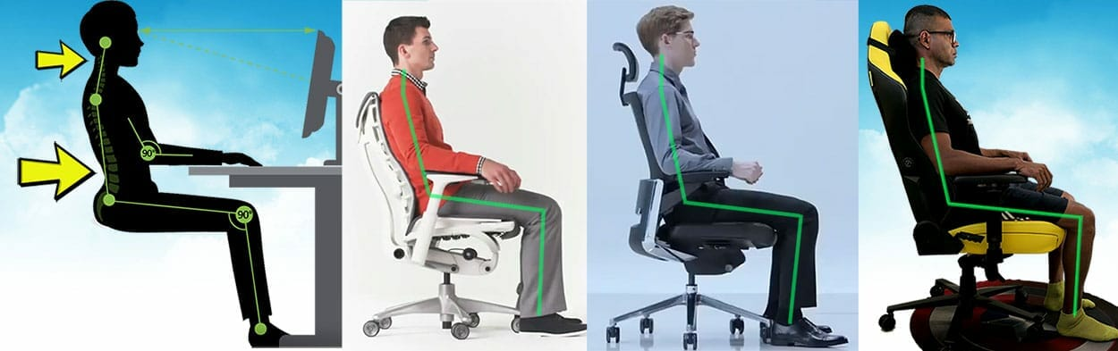 Neutral sitting examples using different types of ergonomic chairs