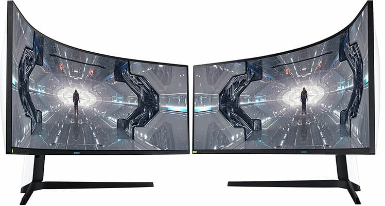 Dual Samsung G9 Odyssey monitors side-by-side