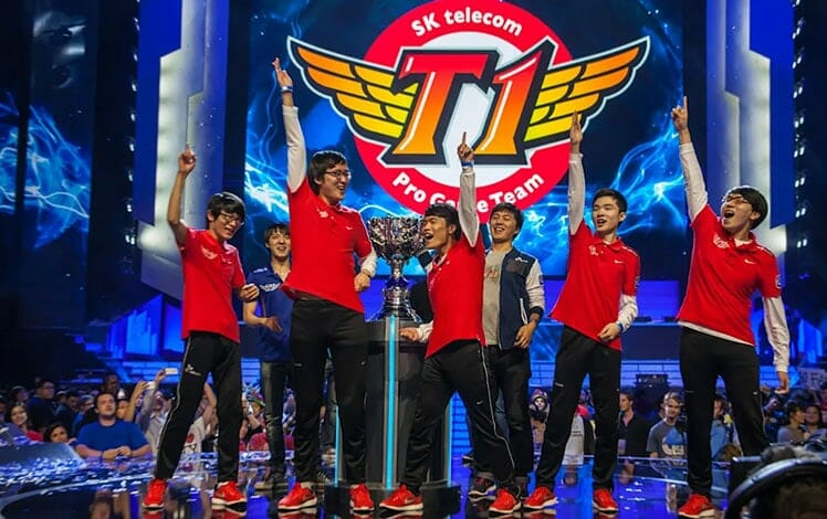 T1 celebrating League of Legends Worlds championship in 2013