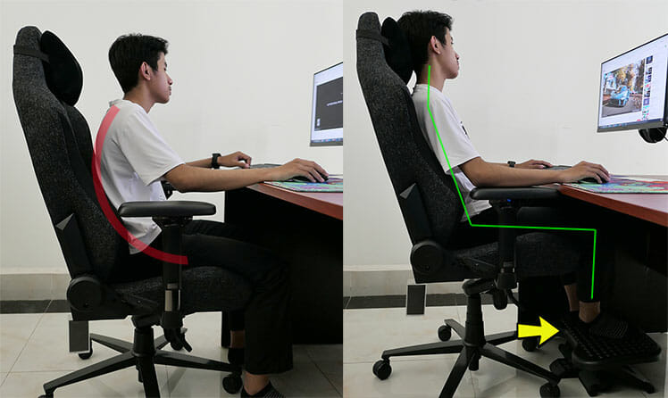 Sit taller by using a footrest
