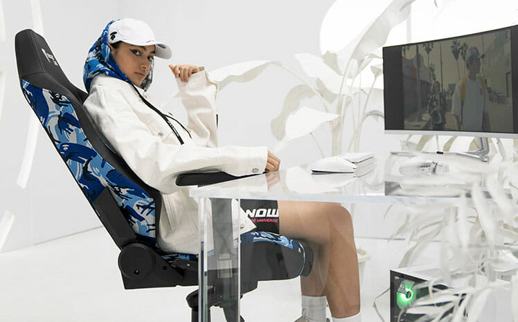 AAPE blue camo gaming chair