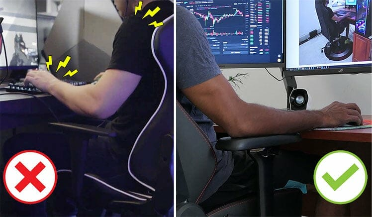 Fixed versus dynamic chair armrests