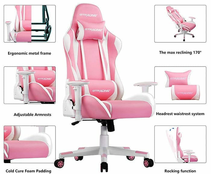 GTRacing Pink gaming chair features