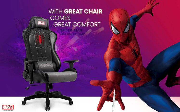 Spider Man black superhero gaming chair