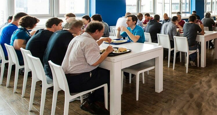 Poor posture in a Google cafeteria