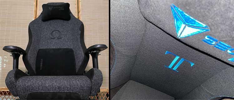 Softweave Black and Charcoal Blue Secretlab gaming chair models