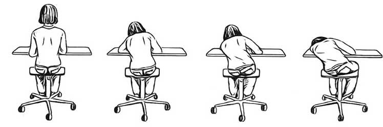 Child slouching at a school desk over time