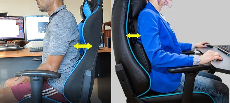 Gaming chair lumbar pillow forces a gap with the backrest