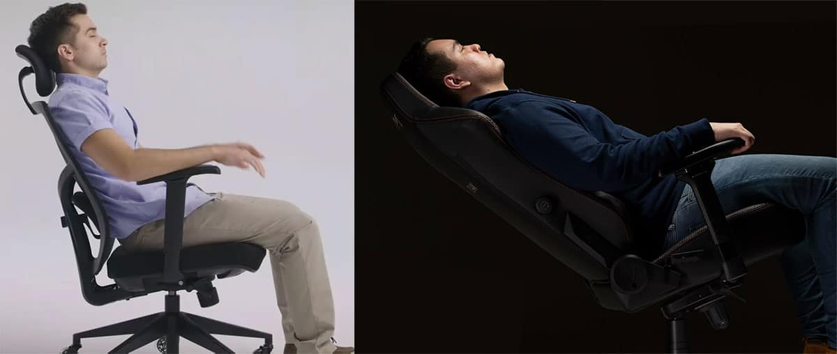 Gaming chair vs task chair recline