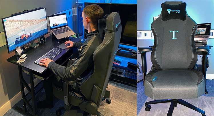 Charcoal Blue chair with gaming setup