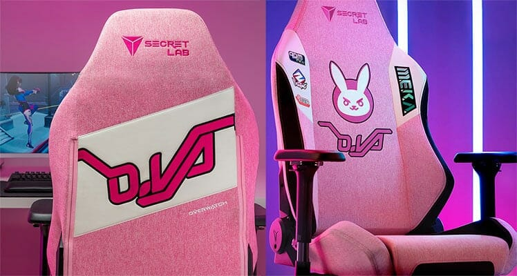 Pink D.Va Softweave fabric gaming chair