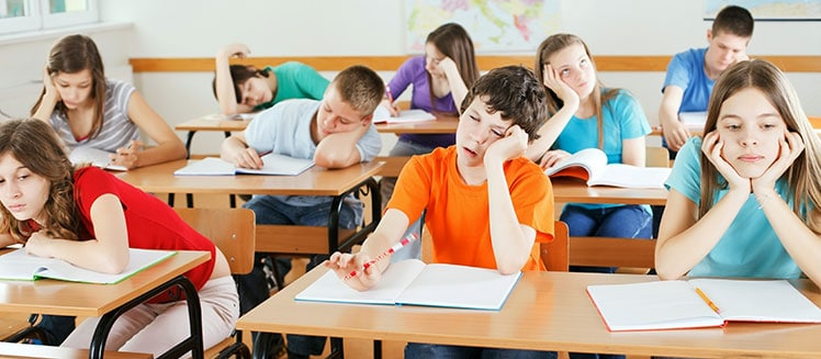 Poor posture resulting in tired, bored students