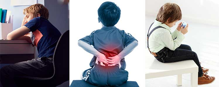Slouching children with poor posture
